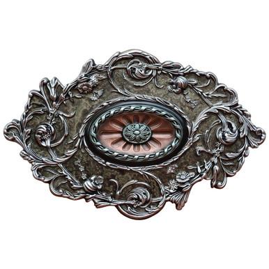 Silver Diamond - FAD Hand Painted Ceiling Medallion - #CCMF-094-3