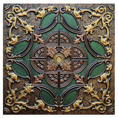 Golden Prague II - FAD Hand Painted Ceiling Tile - #CTF-016-2
