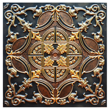 Golden Prague - FAD Hand Painted Ceiling Tile - #CTF-016