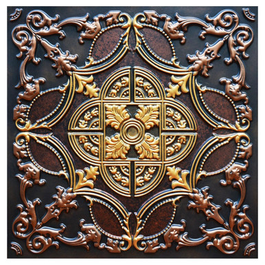 Golden Prague III - FAD Hand Painted Ceiling Tile - #CTF-016-3