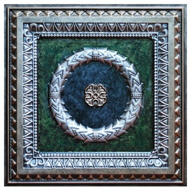 Laurel Wreath V - FAD Hand Painted Ceiling Tile - #CTF-004-5