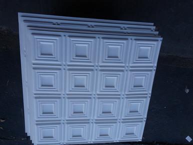 LOT # 42A PVC # 153 (152 SQ FT) 38 PCS White Matt 24 x 24 Glue Up
