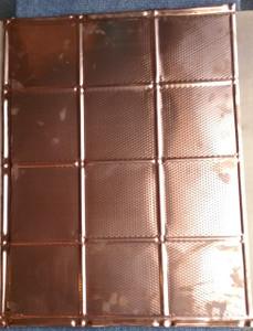 LOT # 51A Soho Backsplash # 0617 (3 SQ FT) 1 PCS Solid Copper  24 x 18 nail up .  Copper 24x18 Backsplash