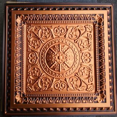 LOT # 57A PVC 223 (212 SQ FT) 53 PCS Antique Copper with Copper insert 24 x 24 Glue Up or Drop In