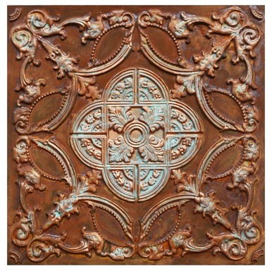 Golden Prague VI - FAD Faux Patina Finish Hand Painted Ceiling Tile - #CTF-016-6
