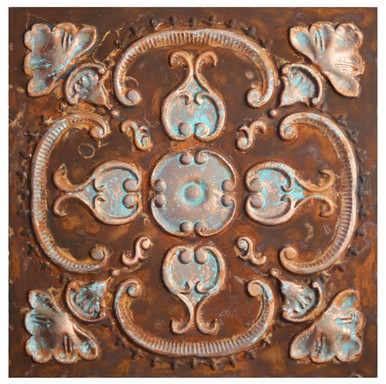 Alhambra V - FAD Faux Patina Finish Hand Painted Ceiling Tile - #CTF-010-5