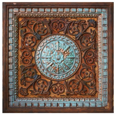 Da Vinci VII - FAD Faux Patina Finish Hand Painted Ceiling Tile - #CTF-012-7