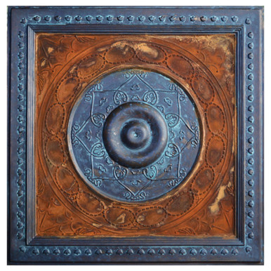 Downtown - FAD Faux Patina Finish Hand Painted Ceiling Tile - #CTF-022