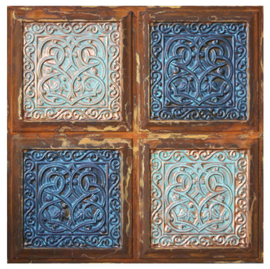 Lover's Knot V - FAD Faux Patina Finish Hand Painted Ceiling Tile - #CTF-005-5
