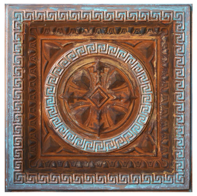 Odysseus Shield IV - FAD Faux Patina Finish Hand Painted Ceiling Tile - #CTF-014-4