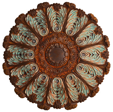 Acanthus Delirious III - FAD Hand Painted Faux Patina Finish Ceiling Medallion - #CCMF-107-3