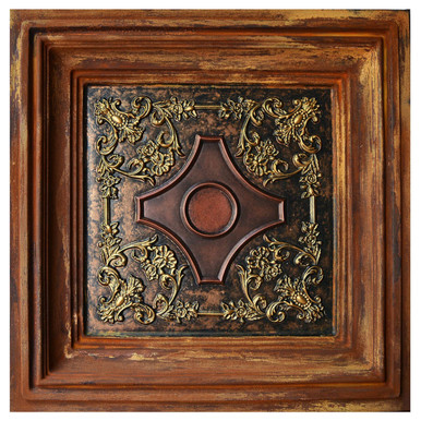 British Sterling - FAD Faux Patina Finish Hand Painted Ceiling Tile - #CTF-039