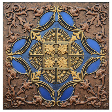 Golden Prague IV - FAD Hand Painted Ceiling Tile - #CTF-016-4