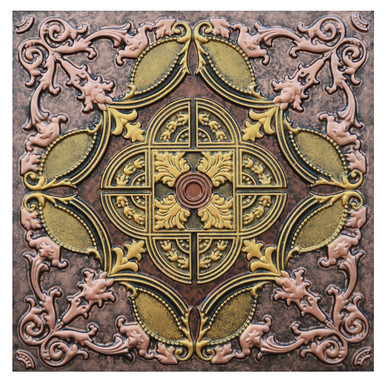 Golden Prague V - FAD Hand Painted Ceiling Tile - #CTF-016-5