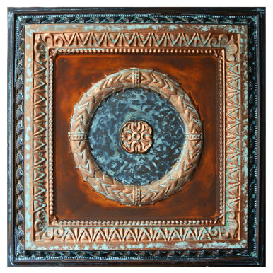 Laurel Wreath VI - FAD Faux Patina Finish Hand Painted Ceiling Tile - #CTF-004-6