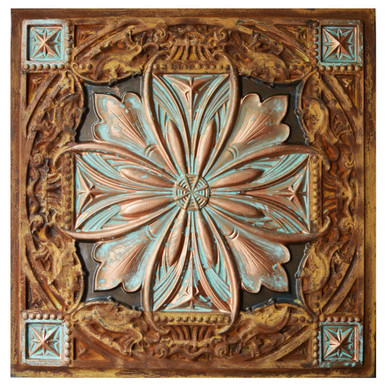 Milan - FAD Faux Patina Finish Hand Painted Ceiling Tile - #CTF-040