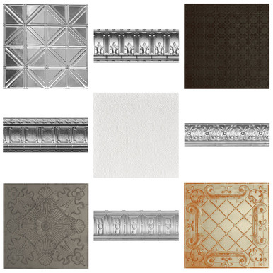 Shanko Tin Ceiling Tile and Cornices Sample Pack (3 TILES & 2 CORNICES)