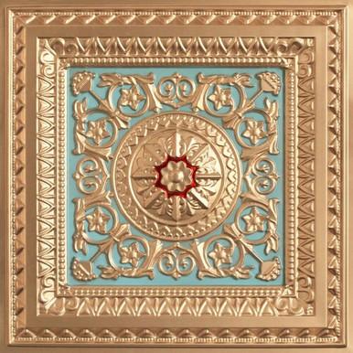Custom Ceiling Tiles 223 Gold / Sky Blue / Red 9/16 Grid 24