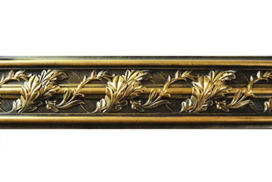 Southhampton Acanthus Leaf - FAD Hand Painted Flat Molding for Panel - Chair Rail - Casings - 94-1/4 in x 4-3/8 in x 1 in - FMF-013