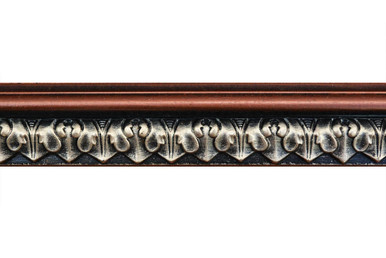 Blackthorne Acanthus Leaf - FAD Hand Painted Flat Molding for Panel - Chair Rail - Casings - 96 in x 2 in x 3/4 in - FMF-010-3