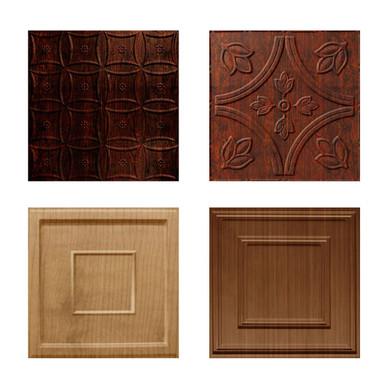 Wood Grain Finish - MirroFlex - 24 in x 24 in - Glue Up / Drop In - PVC - Ceiling Tile Sample