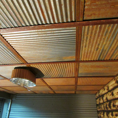 Corrugated Metal - Dakota Tin - 24 in x 24 in - Drop in - Colorado Rustic Steel Ceiling Tile