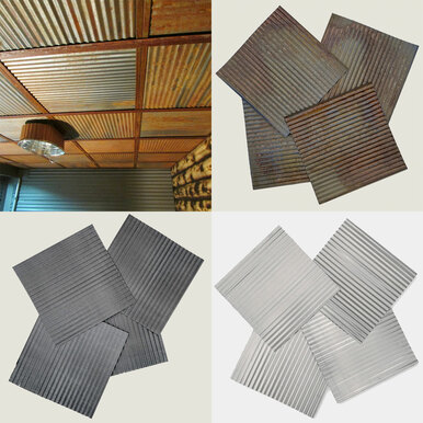 Corrugated Metal - Dakota Tin - 4 in x 6 in Colorado Rustic Steel Ceiling Tile - Sample