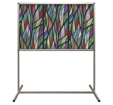 Deco Defender - Fusion - 32 in x 48 in / 48 in x 48 in - LuxCorePlus - Stained Glass Fall Colors - Protective Partitions / Barriers