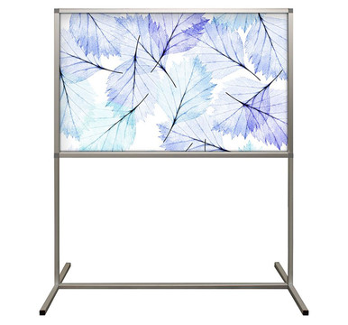 Deco Defender - Fusion - 32 in x 48 in / 48 in x 48 in - LuxCorePlus - Leaves Mordern Blue - Protective Partitions / Barriers