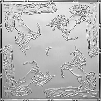 "Playful Unicorns - Tin Ceiling Tile - 24""x24"" - #2487"
