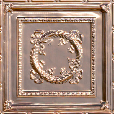 Bowed Wreath - Copper Ceiling Tile - 24 in x 24 in - #2434