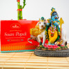 Krishan Ji with Cow Statue 5inch With Soan Papdi - FOR AUSTRALIA