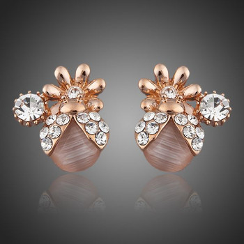Rose Gold Plated Clear Stellux Austrian Crystals Stud Earrings