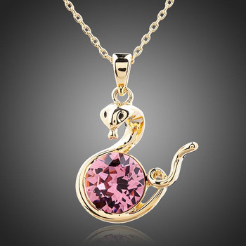 Friendly Snakes 18K Gold Plated Pink Stellux Austrian Crystal Necklace