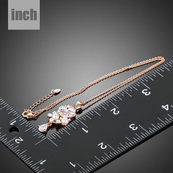 Lucky Flower 18K Rose Gold Plated Clear Waterdrop Swiss CZ Pendant Necklace