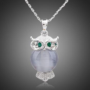 Bird of Minerva Platinum Plated Stellux Austrian Crystal Necklace