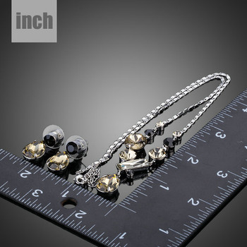 Fashion Jewelry Sets For Women Inlcuding 1 Pair Swiss CZ Water Drop Earrings and 1pcs Chain Pendant Necklace