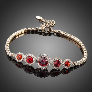 Red Round Stellux Austrian Crystal Bracelet