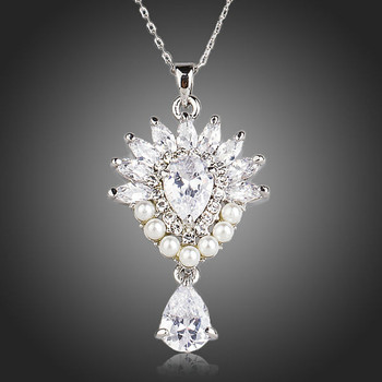 Sunflower With 7pcs Imitation Pearl Clear Waterdrop Cubic Zirconia Pendant Necklace