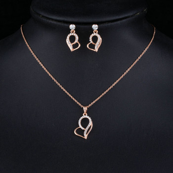 Lover's Gift Heart Shape Rose Gold Color Stellux Austrian Crystal Drop Earrings and Pendant Necklace Jewelry Set