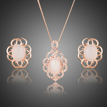 Rose Gold Color Oval Egg Opal With Stellux Austrian Crystal Stud Earrings and Pendant Necklace Jewelry Sets