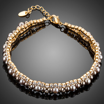 Gold Color 2 Rows Micro CZ Stones With Beads Bracelet