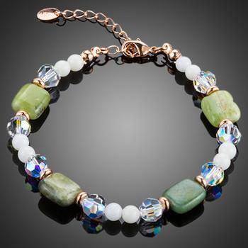 Green Crystal, White Tridacna Rose Gold  Bracelet
