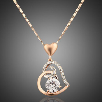 Rose Gold Color Stellux Crystals Heart Pendant Necklace for Valentine's Day Gift of Love