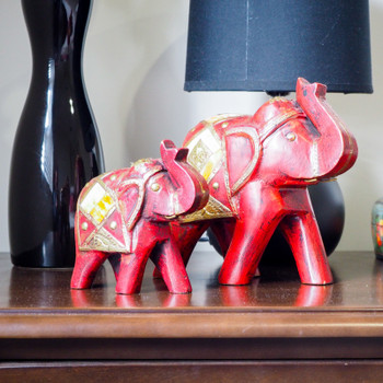 Handmade Wooden two Elephants Set- FOR AUSTRALIA