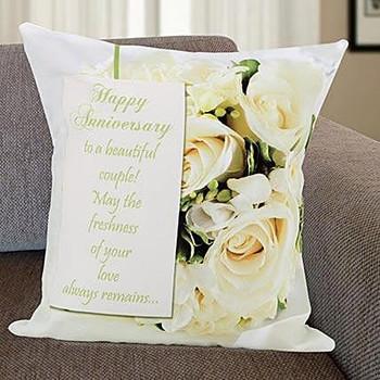 Happy Anniversary Personalized Cushion