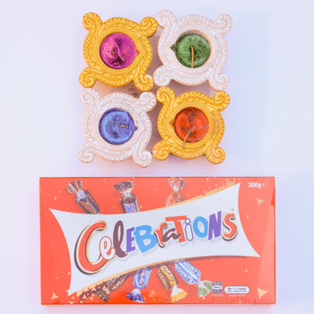 Colored Diye With Celebration Chocolate  - FOR AUSTRALIA
