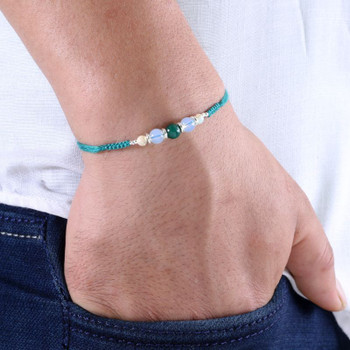 Blue agate and white agate rakhi in teal flat woven thread - FOR AUSTRALIA