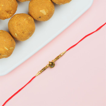 Brass Ganesha Rakhi with Besan Laddu  - FOR AUSTRALIA
