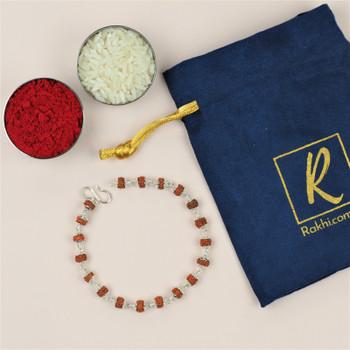 Silver Rudraksha Chain Rakhi (925) -For Australia